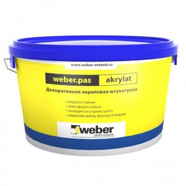 Штукатурка акриловая декоративная Weber.Pas Akrylat Шуба 1 мм белая 25 кг